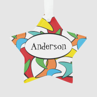 Multicolored Retro Boomerang Pattern Ornament