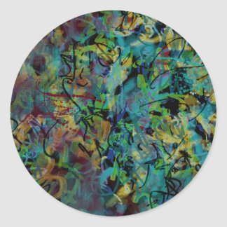 Multicolored Scribbled Abstract Art Classic Round Sticker