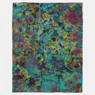 Multicolored Scribbled Abstract Art Fleece Blanket