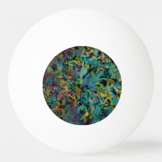 Multicolored Scribbled Abstract Art Ping Pong Ball