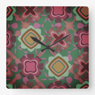 MultiColored Shapes Pattern Square Wall Clock