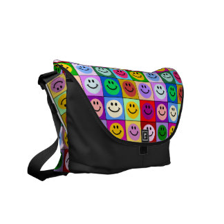 Multicolored Smiley Squares bag Commuter Bag