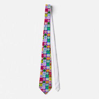 Multicolored Smiley Squares Tie