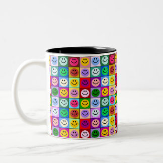 Multicolored Smiley Squares Two-Tone Coffee Mug