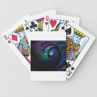 Multicolored spiral fractal picture on the dark bicycle playing cards
