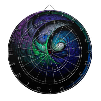 Multicolored spiral fractal picture on the dark dartboard