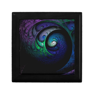 Multicolored spiral fractal picture on the dark gift box