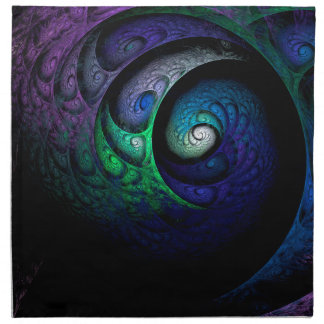 Multicolored spiral fractal picture on the dark napkin