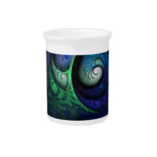 Multicolored spiral fractal picture on the dark pitcher