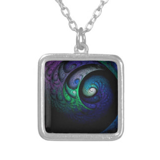 Multicolored spiral fractal picture on the dark silver plated necklace