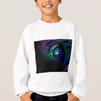 Multicolored spiral fractal picture on the dark sweatshirt