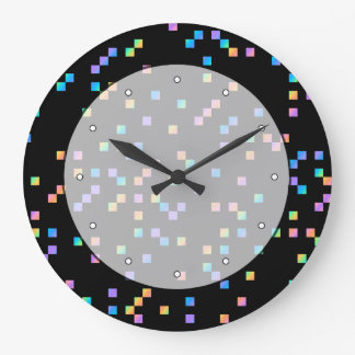 Multicolored Squares on Black. Wall Clocks