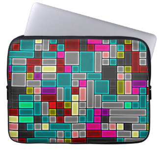 "Multicolored stained glass look 13"" laptop computer sleeve"