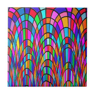 Multicolored Stained Glass Mosaic Abstract Art Ceramic Tile