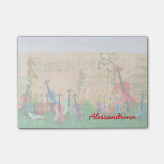 Multicolored Stringed Instruments Custom Name Post-it® Notes