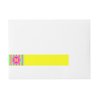 Multicolored Stripe Yellow Monogram Wraparound Address Label