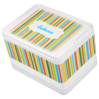 Multicolored Stripes & Personalized Cooler