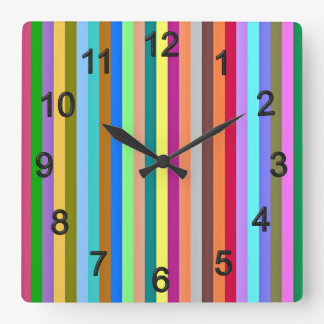 Multicolored strips square wall clock