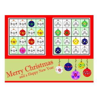 Multicolored Sudoku for Christmas Postcard