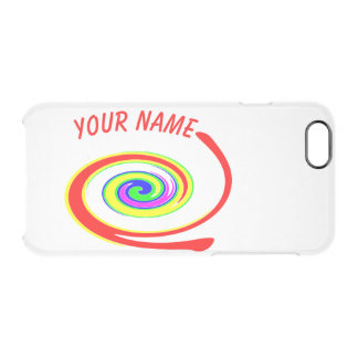 Multicolored swirl. Add your text. Clear iPhone 6/6S Case