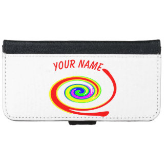 Multicolored swirl. Add your text. iPhone 6 Wallet Case