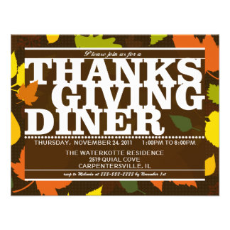 Multicolored Thankgiving  Holiday Party  Invite