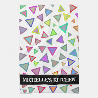 Multicolored Triangles Pattern + Custom Name Tea Towel