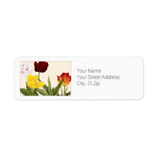 Multicolored Tulips, Botanical Art Return Address Label
