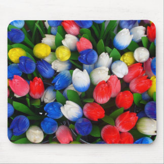Multicolored tulips mouse pad