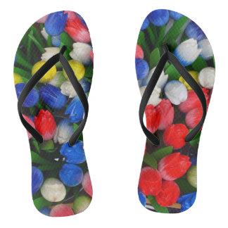 Multicolored tulips thongs
