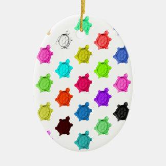 Multicolored Turtle Pattern Ceramic Ornament