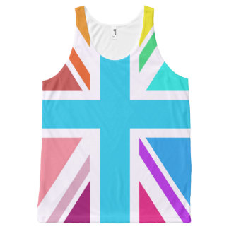 Multicolored Union Jack/Flag Design All-Over Print Singlet