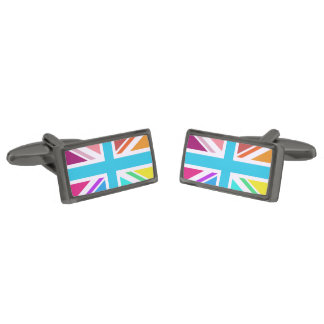 Multicolored Union Jack/Flag Design Gunmetal Finish Cuff Links