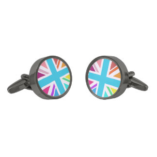 Multicolored Union Jack/Flag Design Gunmetal Finish Cufflinks