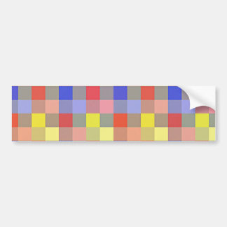 Multicolored Vintage Square Geometric Pattern Bumper Stickers