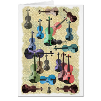 Multicolored Violin Wallpaper Card
