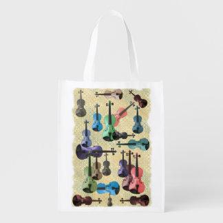 Multicolored Violin Wallpaper Reusable Grocery Bag