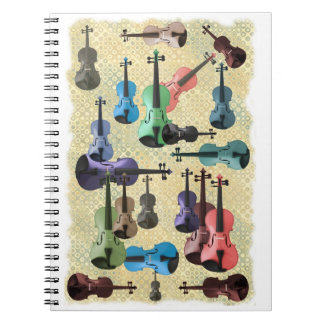 Multicolored Violin Wallpaper Spiral Note Book