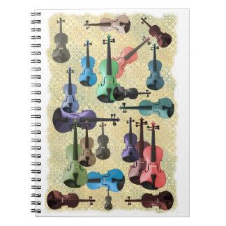Multicolored Violin Wallpaper Spiral Notebook