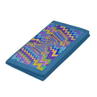 multicolored vortex on Blue TriFold Nylon Wallet