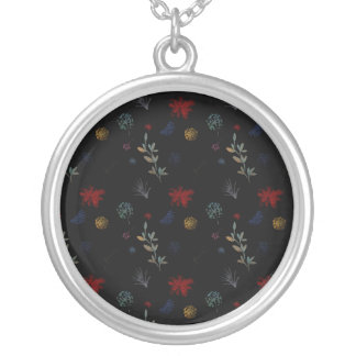 Multicolored Watercolor Botanical Pattern 01 Silver Plated Necklace