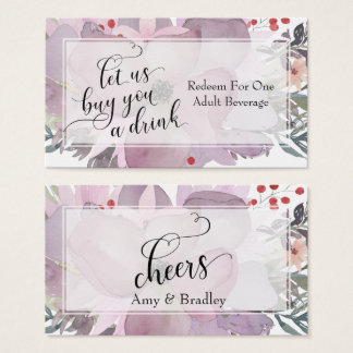 Multicolored Watercolor Floral Drink Tickets