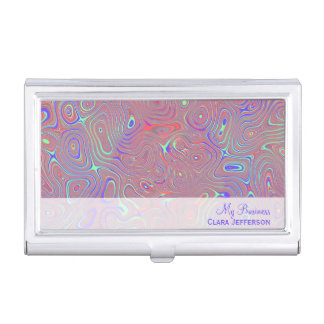 Multicolored whimsical abstract custom business card holder