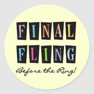 Multicolors Fling Before the Ring T-shirts Round Sticker