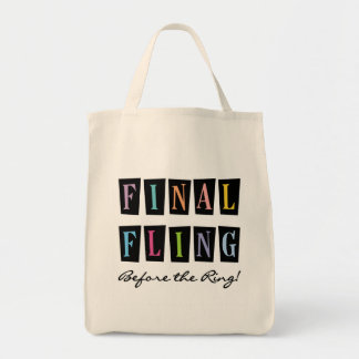 Multicolors Fling Before the Ring T-shirts Grocery Tote Bag