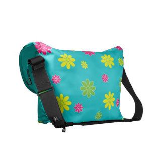 Multicolors flower on blue feild courier bag
