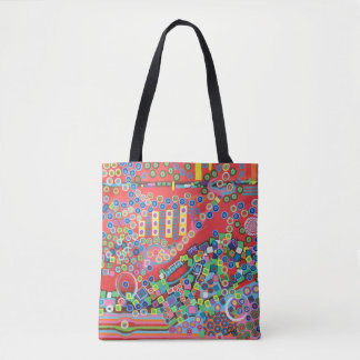 "Multicoloured Abstract Art Tote Bag ""Grappa"""