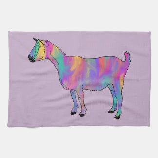 Multicoloured Art Goat Funny Animal Design Tea Towel