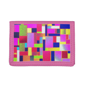 Multicoloured bricks art, trifold wallets
