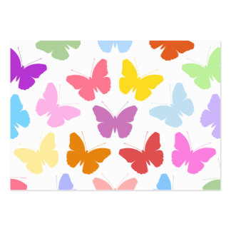 Multicoloured Butterflies Pattern II on White Business Cards
